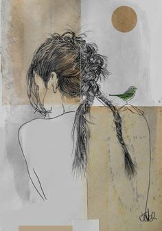"""[Her pet bird is stopping her hand from picking her skin. At least that's what I see - Skinmania] """"forever long ago"""" by Loui Jover"""