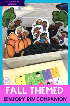 Work on speech and language skills using a fall sensory bin. Fall vocabulary to target a lot of skills!