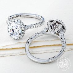 Tacori oval diamond engagement ring with a halo from Diamonds Direct. Want this setting with a different diamond shape? Not a problem! You can customize it with the diamond center stone of your choosing. #oval #diamond #tacori #designer #engagementring #halo #detail #ido #shesaidyes #engagementringinspo #engagementringideas