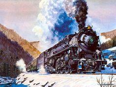 Art Train Journeys : Steam Train Painting by Howard Fogg - Howard Fogg's Trains : : Lackawanna Phoebe Snow, No1154 15
