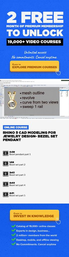 Rhino 5 CAD Modeling for Jewelry Design- Bezel Set Pendant Jewelry Design, CAD, Lifestyle, Other, Rhino3d #onlinecourses #onlineprogramsmakemoney #onlinedegreeposts   This class demonstrate how to build a simple Bezel Set Pendant in Rhino 5 for Jewelry Design. You can download Rhinoceros 5.0 free trial for 90 days to practice this model. For more information, please check on http://www.pjchendesig...