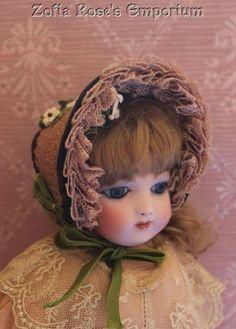 FRENCH FASHION DOLL~Sweet Fanchon Bonnet or Hat~Artist Made #ZofiaRosesEmporium