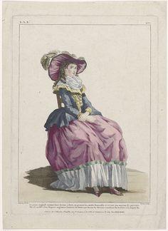 Le Bas | Gallerie des Modes et Costumes Français, 1787, xxx 401 : La jeune Anglaise..., Le Bas, Esnauts & Rapilly, c. 1787 | Een jonge Engelse vrouw met op het hoofd een hoed die 'Chapeau angloman' werd genoemd. Het golvende haar valt op het voorhoofd naar voren 'à la Jaquet'. Zij draagt een caraco met brede revers op een rok gegarneerd met een gerimpelde strook stof. Fichu. Schoenen met hakken en gespen(?). Volgens het onderschrift wil zij haar fortuin in Parijs maken. Prent uit de serie…