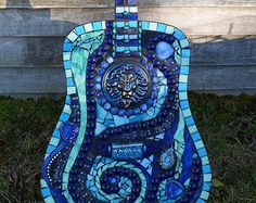 Stained Glass Mosaic Blues Guitar Gift for Musician or Music Lover
