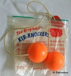 Ker-Knockers, a variation of Klackers, early These things hurt if you… 70s Toys, Retro Toys, Vintage Toys, Vintage Games, Vintage Music, Childhood Toys, Childhood Memories, 1970s Childhood, Oldies But Goodies