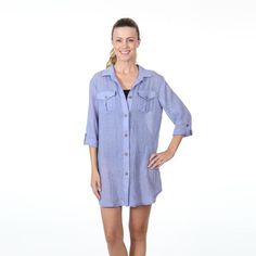 98699e800d Dotti Swimwear Cover Up Happy Camper Shirt Dress. Denim happy camper cover  up. This swim suit cover up is a bright denim oversized button up shirt  with ...