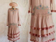 RARE robe 1920 s / 20 s robe / brodé robe / par LacyDressesVintage