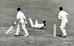 Sport, Cricket, pic: 26th June 1953, 2nd Test Match at Lord's, England v Australia, Australia's Lindsey Hassett is caught by England's Trevor Bailey off the bowling of Alec Bedser (Photo by Popperfoto/Getty Images)