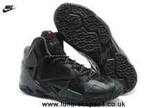 2014 Nike Air Max LeBron James 11 P.S ELIT All Black Basketball shoes For Wholesale
