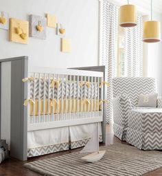 Interesting Unisex Baby Room Themes : Traditional Kids Gray And Yellow Chevron Crib Bedding Wall Art Idea Adorable Unisex Nursery Baby Crib Bedding, Baby Bedroom, Baby Boy Rooms, Baby Room Decor, Baby Boy Nurseries, Baby Cribs, Nursery Room, Nursery Decor, Decorating Rooms