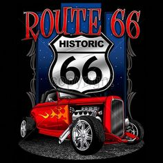 Adult Unisex T Shirt Hot Rod Route 66 Historic 66 15708