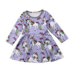 Cute Unicorn Dress in Purple Above the knee, mini Long sleeve Cotton-poly