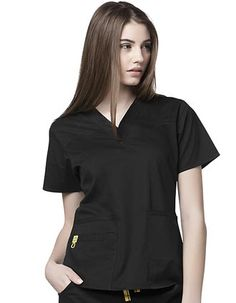 Style Code: (WI-6103)  This fashion V-Neck with yoke detail has 2 lower pockets including 1 Wink signature triple pocket with a hidden mesh pocket (total 5). It has a signature ID bungee loop and invisible 3 part accessory loop.