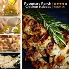 Rosemary Ranch Chicken Kabobs | See how to make juicy and tender grilled chicken skewers with freshly minced rosemary and ranch dressing marinade. Repin this grilling great!