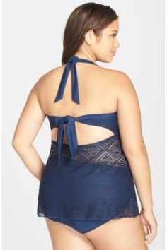 Alternate Image 2 - Jessica Simpson 'Crochet Away' Bandeau Tankini (Plus Size)