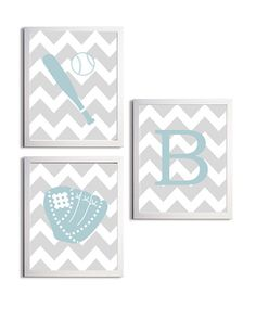 Personalized Nursery Sports Baseball Chevron Boy Girl Grey Blue customizable set of 3 wall art prints