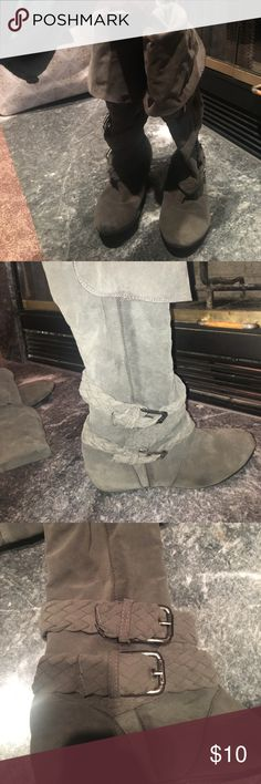 Grey Flat Buckle Boots Grey buckle boots with two buckles on each side. Slip in boots. Can fold down tops for below the knee boots of leave up for over knee boots. Never worn once. Old so look a little worn. Papaya Shoes Over the Knee Boots