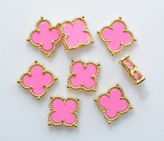 Pink Clover Brass Pendant (Small), Jewelry Craft Supplies, 16K Polished Gold Plated over Brass - 1pcs / RG0050-PGPK