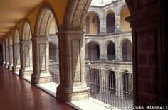 Arches in the Antiguo Colegio de San Ildefonso, a former Jesuit college in downtown Mexico City. This 18th-century building is famous for its murals by Mexican artists.