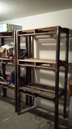 Ryobi nation pallet shelves for the garage diy cool for Making storage shelves out of pallets