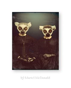 """Mesmerizing Animal Art Print Lemur Wall Art Animals In Clothes Gothic Archival Quality Fine Art (2 Sizes Available) """"The Lemur Sisters"""""""
