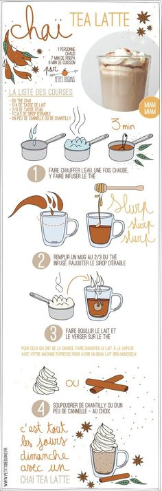 Chai tea latte - Boisson chaude - Petits Béguins Even though I cant read the directions I want to make this. I love chai and this infographic rocks Tea Recipes, Coffee Recipes, Sweet Recipes, Cooking Recipes, Healthy Recipes, Café Latte, Chai Tee, Tasty, Yummy Food