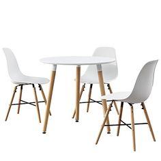 [en.casa] Esstisch Rund Weiß [Ø80cm] Mit 3 Stühlen Weiß Esszimmer Essgruppe  Küche