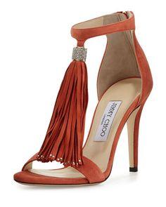 Viola Suede Tassel Sandal, Agate by Jimmy Choo at Neiman Marcus.
