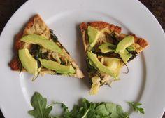 Vegan pizza with hummus and avocado