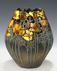 gratitude vessel, Bronze by Carol Allman Ceramic Flower Pots, Ceramic Pots, Porcelain Ceramics, Flower Vases, Decorative Gourds, Hand Painted Gourds, Pottery Painting, Pottery Art, Bowls
