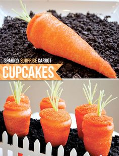Sparkly Surprise Carrot Shape Cupcakes for Easter