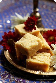 'Mysore-Paak' / Gram-Flour Fudge ~ Traditional sweet of Bengal gram/chickpea flour, ghee and sugar flavoured with cardamom powder from Karnataka, a South Indian state