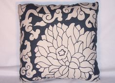 Navy Lotus Floral Throw Pillow Thomas Paul by PillowDetails