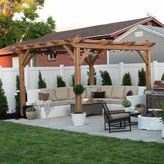When all is finished, you can start to create a pergola, so it's prepared to delight in summer. A pergola may be an effortlessly stylish method to entertain and revel in your outdoor space without sacrificing your comfort or price… Continue Reading → Patio Pergola, Small Backyard Patio, Backyard Seating, Backyard Patio Designs, Pergola Designs, Diy Patio, Backyard Storage, Landscaping Design, Backyard Ideas For Small Yards