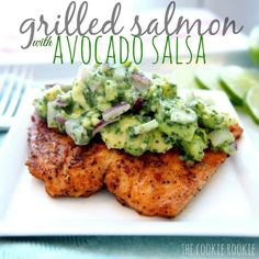 #PFC Salmon with Avocado Salsa! Protein: salmon (alaskan please!) Fat: avocado + olive oil ,Carb: add a side salad or veggie