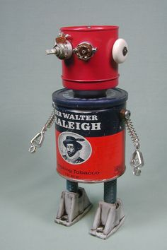 """Raleigh"" Found Object Robot Sculpture Assemblage by Sally Colby View Master 