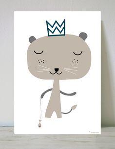 Lámina Infantil rey animal bosque