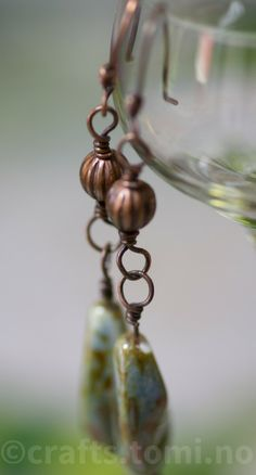 Green czech luster earrings with corrugated copper bead
