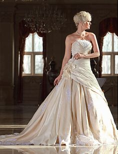 Specials Ball Gown Strapless Cathedral Train Taffeta Wedding Dress with Flowers  Free Measurement