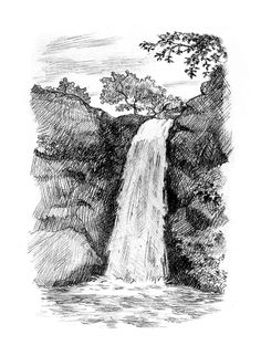 Picture Of Picture Of Waterfall To Draw