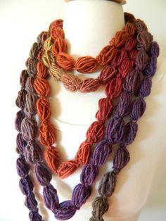 Pompom Scarf Crochet Lariat Necklace Neckwarmer by TrendyKnitz