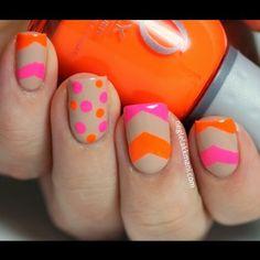 Nude, Tan, nails with bright orange pink polka dots chevron stripes free hand nail art Neon Nails, Love Nails, How To Do Nails, Pretty Nails, My Nails, Chevron Nails, Pink Nails, Vegas Nails, Crazy Nails