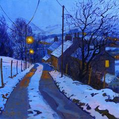 Chris Cyprus is the artist of this cold winter painting. River Painting, Painting Snow, Gouache Painting, Oil Painting On Canvas, Painting Frames, Winter Landscape, Landscape Art, Landscape Paintings, Nocturne