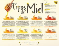 Los distintos tipos de miel - Infografías y Remedios. #infografia #miel #infographic