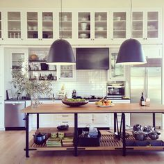 [CasaGiardino]  ♛  over-sized bell shaped kitchen island pendants...Habitually Chic
