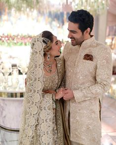 Check out these color coordinated Pakistani couples who rocked their wedding look by donning matching outfits. Pakistani weddings at ShaadiWish. Pakistani Wedding Outfits, Pakistani Dresses, Pakistani Suits, Groom Wear, Groom Outfit, Latest Bridal Lehenga Designs, Lehenga Images, Pakistan Wedding, Wedding Suits