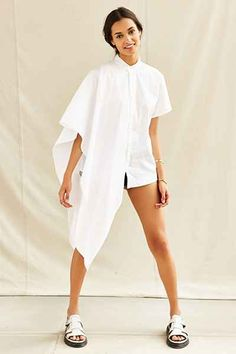 Urban Renewal Remade Asymmetrical Oxford Top - Urban Outfitters