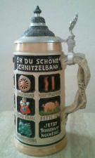 Lidded German Beer Stein -   Oh Du Schone Schnitzelbank