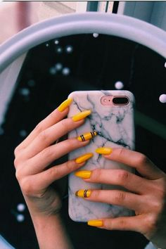 Marble iPhone Cases And Yellow Nail Art. Nails Marble iPhone Cases And Yellow Nail Art Neon Nail Designs, Acrylic Nail Designs, Nails Design, Cute Acrylic Nails, Neon Nails, Art Nails, Glitter Nails, Acrylic Art, Clear Acrylic