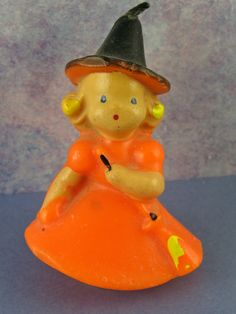 Adorable Vintage Little Halloween Witch Gurley Candle